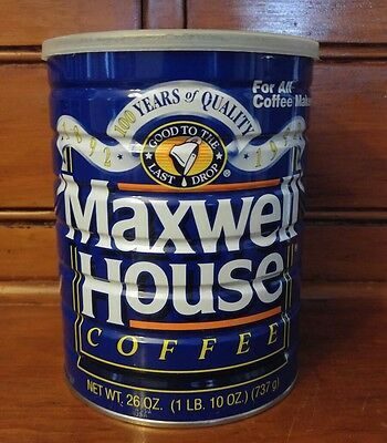 Maxwell House 100 Years of Quality 1 LB Metal Coffee Can with Lid