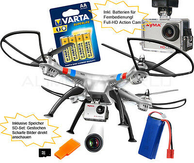 Syma X8G Action-Cam Full-HD 8 MP RC Drohne Headless-Mode XXL Quadrocopter Silber