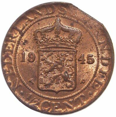 Clipped Planchet Error Half Cent Netherland East Indies 1945 #1469