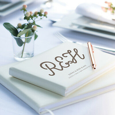 Initial Guest Book, Personalised Wedding Guest Book, Ivory Guestbook  (OHSO31SI)