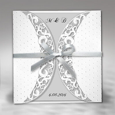 50 Silver Personalised Wedding Invitations Day Evening Laces Laser Cut Free P*P