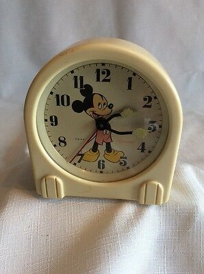 Vintage Mickey Mouse Ingersoll Alarm Clock Art Deco Disney