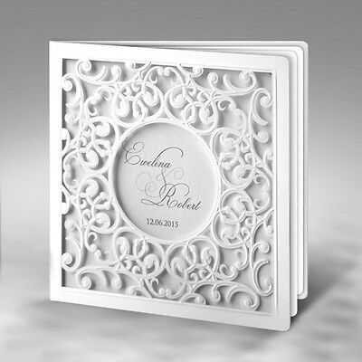 50 White Personalised Wedding Invitations Day Evening Laces Laser Cut Free P*P