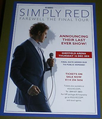 "Simply Red ""farewell Tour  2010 Uk Tour Flyer"