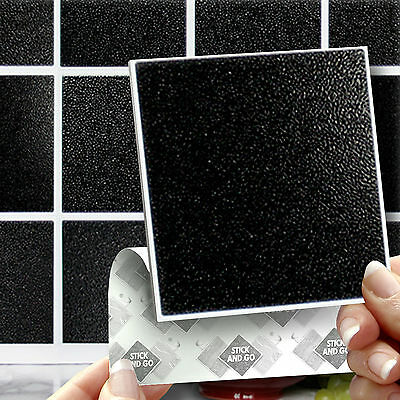 18 Black Stick On Self Adhesive Wall Tile Stickers For Kitchen & Bathroom