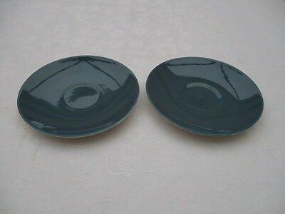 poole pottery cameo blue moon 2 saucers for replacements used condition
