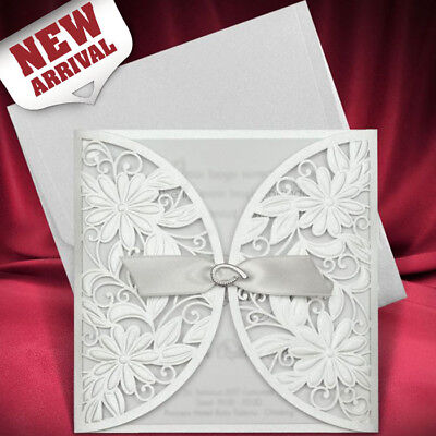 White Personalised Flower Wedding Invitations Embossed Free P*P FREE ENVELOPES