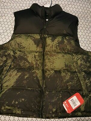 NWT $149 NORTH FACE MENS Green & Black Camo Nuptse Puffer Vest  - XXL / 2XL
