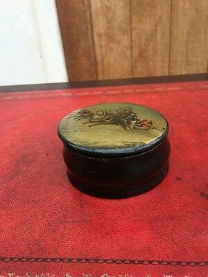 Antique Russian Handpainted Lacquer trinket box depicting a winter scene