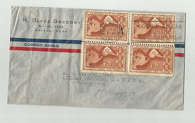 1947.  H. Glyde Gregory Cover. Airmail Havana To Lindsay Ontario
