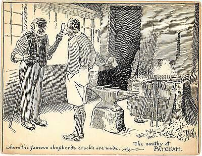 Original Pen Drawing - Smithy at Patcham 1923 by  FREDERICK  PEGRAM   R.I.