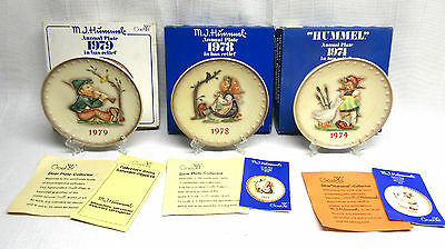 Lot of 3 Goebel Hummel Annual Collector Plates 1974 1978 1979 in Original Boxes