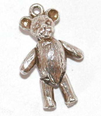 Vintage Sterling Silver Bracelet Charm Articulated Teddy Bear (2.6g)