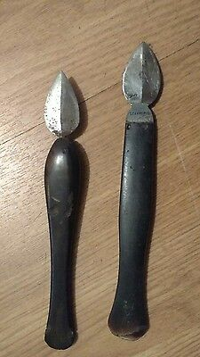 Antique writing, cow horn quill knifes,19th-C.