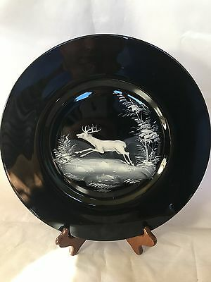 "Mary Gregory Style 11"" BLACK GLASS PLATE with Deer/Stag ~ Set of 4"
