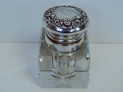 """Antique Sterling Silver & Cut Glass Repousse Inkwell """"Lolita"""""""