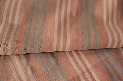 Antique French ticking fabric FADED stripes peachy terracotta blue pink material