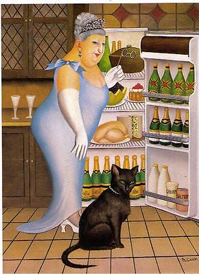"Beryl Cook ~""Percy At The Fridge"" 49 ~ Large Mounted Print. -"