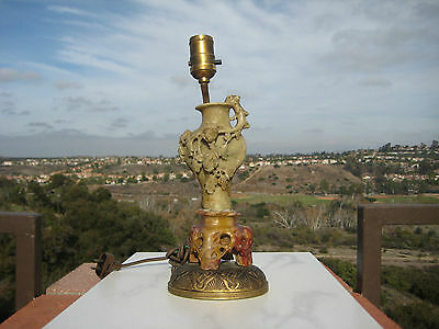 Antique Chinese Hand Carved Soapstone Lamp Vase Bronze Base 1920Th