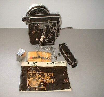 Bolex H16 RX4 16mm movie camera circa 1965 with octometer, other accs.in case