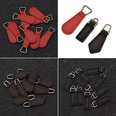 10X Leather Zipper Tags Zipper Fixer Pull Tab Head for Bag Handwork Multicolor