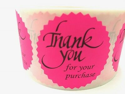 """100 THANK YOU FOR YOUR PURCHASE 2"""" STICKER Starburst PINK NEON NEW THANK YOU NEW"""