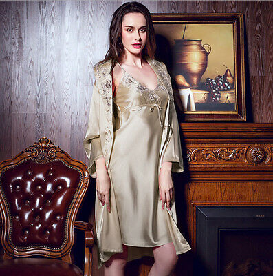 New Two-piece Women's Embroider Lingerie Classic Nightgown Sleepwear Pajama Sets