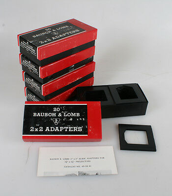 Bausch And Lomb 2X2 Adapters For Cardboard Mount 35Mm Slides 5 Boxes Of 20 (100)