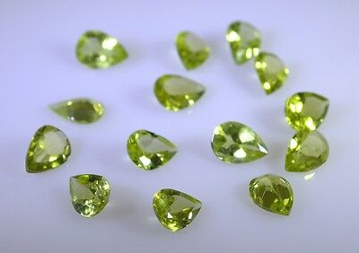 peridote faceted Green Pear gems 4x6 1 pc