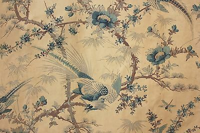 Antique French Curtain c1900 GORGEOUS blue bird pattern floral Chinoiserie