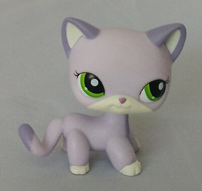 Littlest Pet Shop LPS rare gray Cat with green  eyes #3922