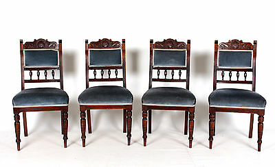 4 Antique Dining Chairs Mahogany Blue Velvet 19th Century Late Victorian