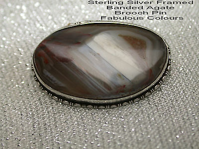 Vintage 1950s Sterling Silver Framed Banded Agate Brooch Pin Fabulous Colours