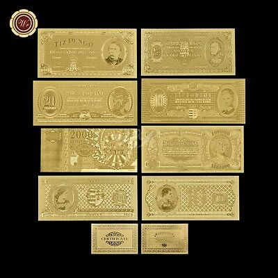 WR HUNGARY Banknote Set Of 8pcs Gold Hungarian Bank Notes Diff. Period Free COA