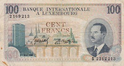 **Grand Duchy of Luxembourg Banknote 100 Francs 1968 P-14 AF Duke Jean