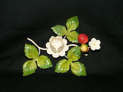 Vintage Italy Strawberry Flowers Candle Holder Italian Painted Metal Toleware