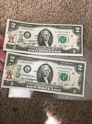 Two (2) 1976 $2 Two Dollar Bills with Cancelled Liberty Bell Stamp