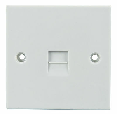 10x White Single Flush secondery Telephone Phone Socket Face Wall Plate with