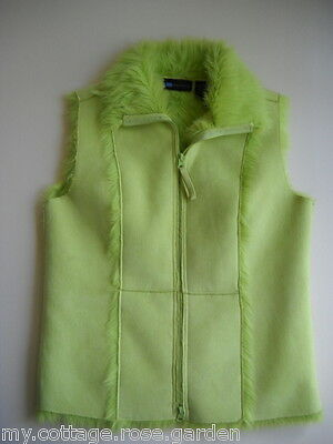 spring green faux suede & fur vest - size small