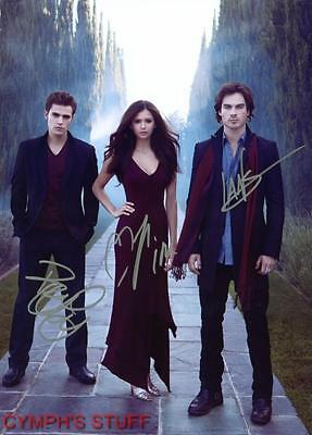 The Vampire Diaries Cast Of 3 Signed Autograph Reprint #4