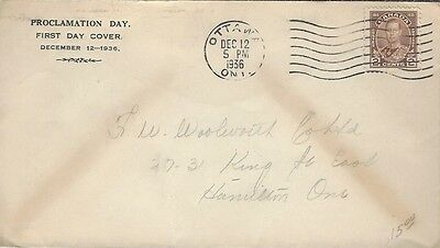 Dec 12, 1936 Proclamation Day of KGVI cover addressed to Hamilton,ONT