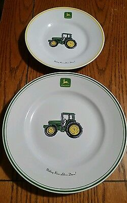 """Gibson John Deere Dishes 9"""" & 11"""" Plates collectable gift excellent condition"""