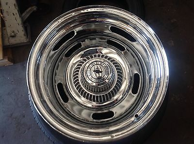 Chrome Chevy camaro Rally Wheels, Corvette 15x7s or 8s with derby caps 4.75 bp