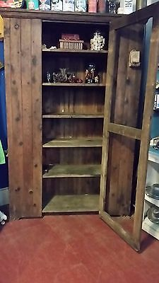 """Antique 77"""" Country Pie Safe Cabinet, Pine, From Adirondack Mountains, NY"""