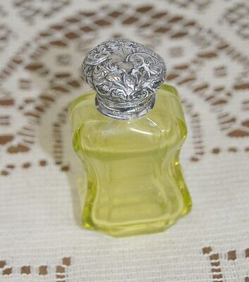 Antique Victorian Yellow Glass Perfume Scent Bottle + Silver Top & Glass Stopper