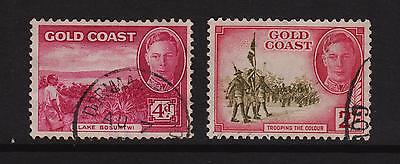 Gold Coast, 1938/48, F/Used 4d & 2/- Definitive Stamps.