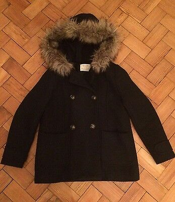 Zara Girls Navy Coat With Faux Fur Trim Age 11-12 Years