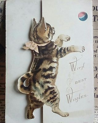 Antique Meissner and Buch  cat playing  christmas card opens to windmill inside