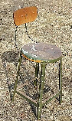 Vintage INDUSTRIAL STOOL green metal chair seat steampunk factory drafting table