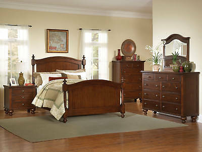 PALISADES - 5pcs Traditional Cottage Cherry Queen Poster Bedroom Set Furniture